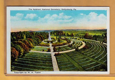 Soldier's National Cemetery vintage 1930s Gettysburg Civil War postcard