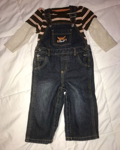 Gymboree Size 18-24 Months Boys Denim Overalls With Tiger