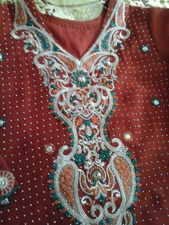 Pakistani crinkle chiffon wedding and party dress