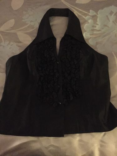 JS Collections Tuxedo Ruffle Front Halter Evening Top Size 10
