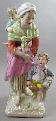 Antique KPM Beggar Figurine - Mother and Two Sons / Children