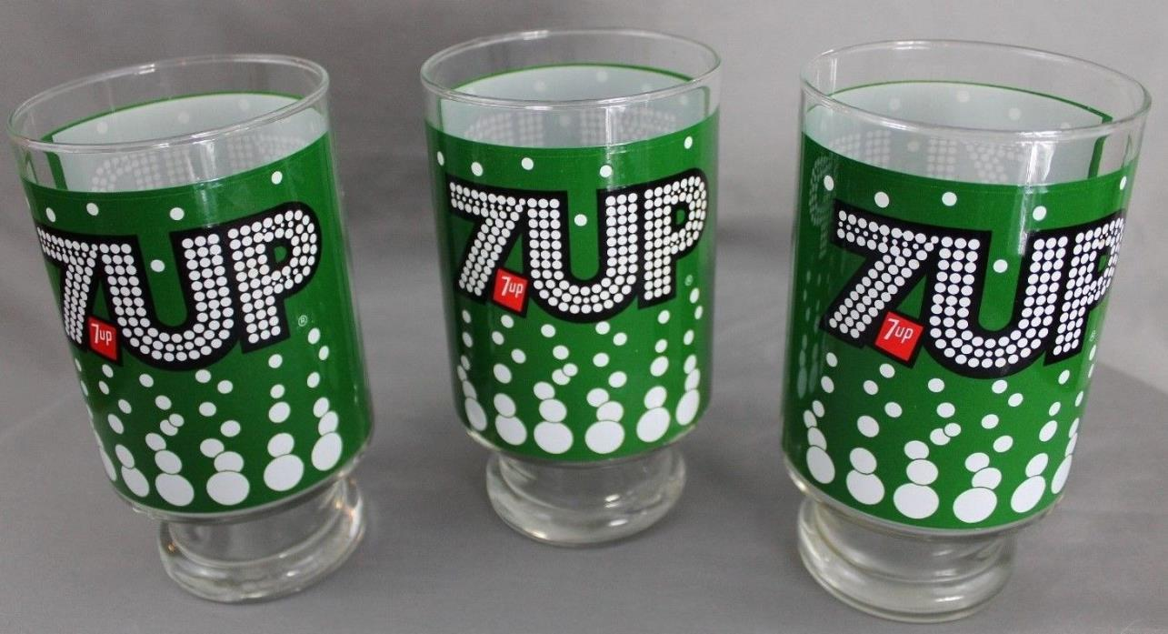 Vintage 7-Up 32 Ounce Glasses Lot of 3