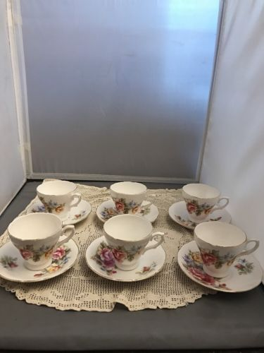 6 Staffordshire English Bone China Teacup and Saucer Innocence Pattern Yellow