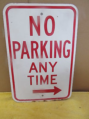 Vintage Heavy Metal Street Sign No Parking Here Any Time  S70