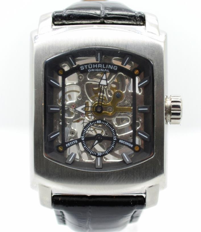 Stuhrling Original Mens Automatic Skeleton Tonneau Leather Watch REPAIR PARTS