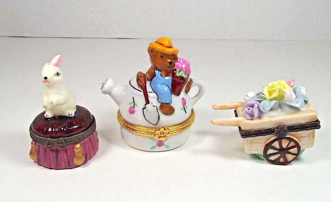 3 Porcelain Hinged Trinket Boxes Miniature Teapot Bear Garden Cart Rabbit CBK