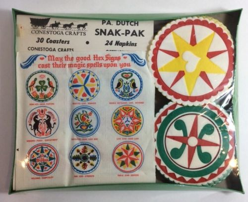 Vtg PA DUTCH HEX SIGNS NAPKINS & COASTERS New Sealed Conestoga Crafts Spells