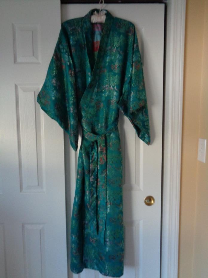 Vintage Oriental Kimono Robe Turquoise RAyon Label Double Peach China M