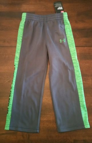 NWT - UNDER ARMOUR 3T Toddler Boy Gray with Green Accent Play Pants Bottoms