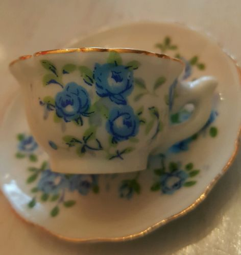 Enesco blue roses tiny tea espresso cup & saucer Child's?