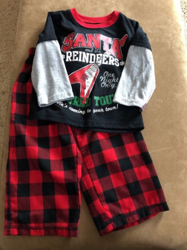 Baby Boy toddler 2T Pajamas PJ's Jammies long sleeves pants Christmas Santa