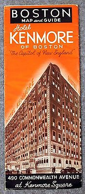 1940s HOTEL KENMORE SQUARE Boston Massachusetts BROCHURE Tourism MASS MA Map