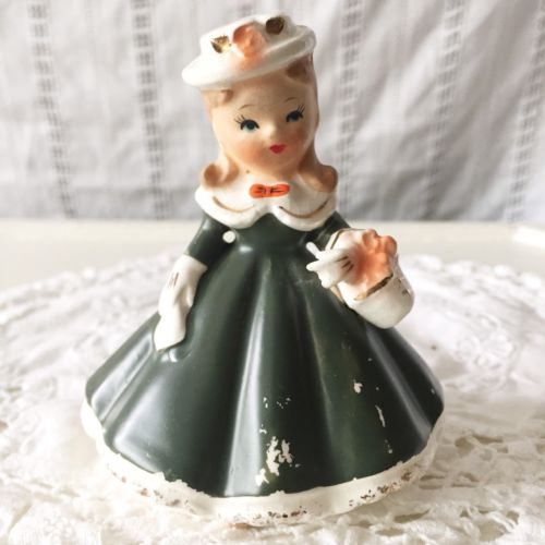 Vintage Girl Ceramic Figurine Green Victorian Dress Basket Hat Unmarked