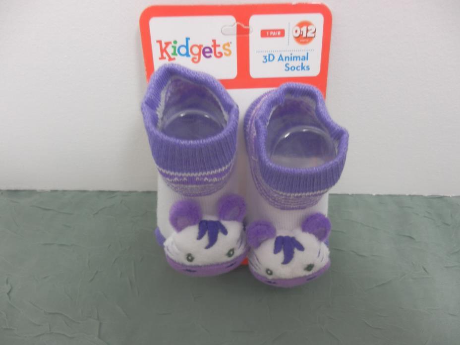 Kidgets 3D Animal Socks Baby Booties White/Purple Zebra 0-12 Months-1pr REF#S131