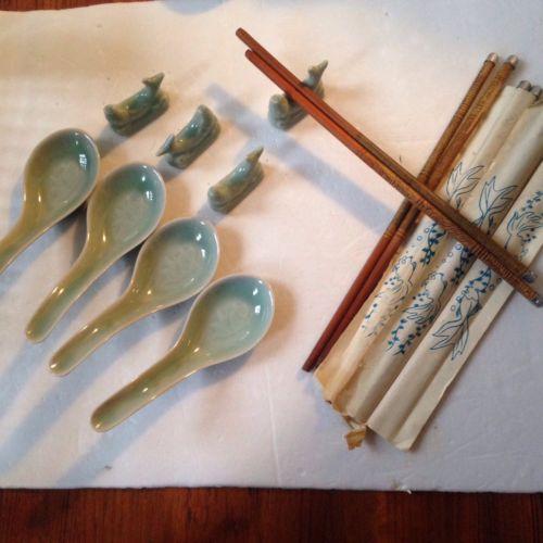 RARE~Celadon Green~Koi Fish~Longquan Chinese 4 SOUP  SPOONS+ 4 Chopstick Holders