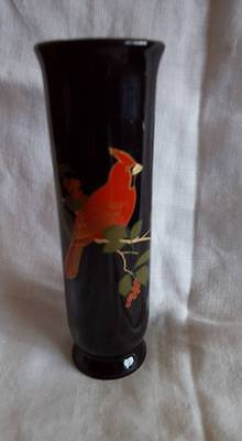 Otagiri Bud Vase; Cardinal; Gold trim; Gibson Greetings; Japan