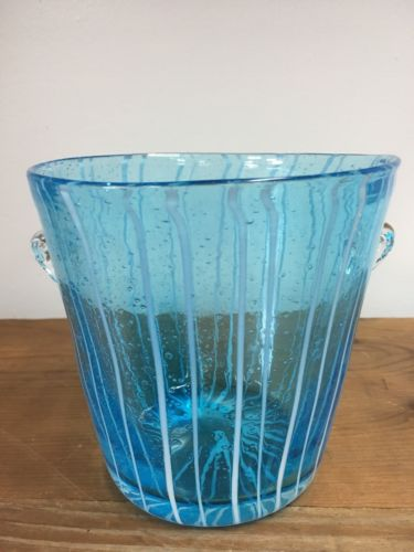 RETRO VINTAGE HAND BLOWN VENETIAN MURANO ICE BUCKET BLUE WITH WHITE STRIPES