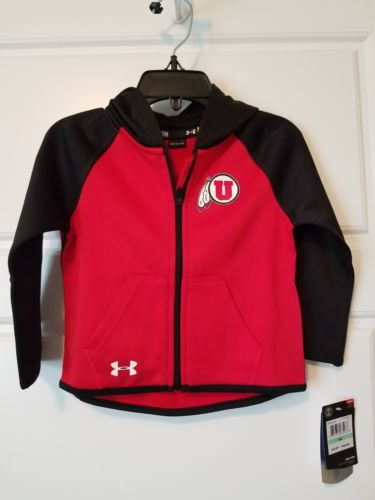 UNDER ARMOUR BOYS SZ 18 MONTHS FULL ZIP UP HOODIE JACKET UNIVERSITY OF UTAH New!