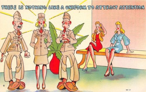 WACS WWII Military Comic~Womens Army Corp~Nothing Like a Uniform to Attract~1943