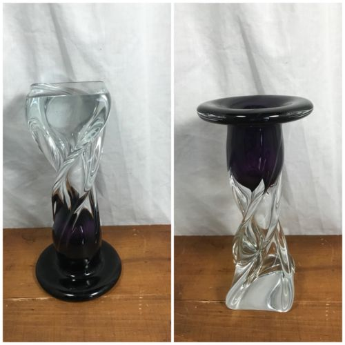 Twisted Glass Pedestal/Vase/Candle Holder Clear & Purple 9.5