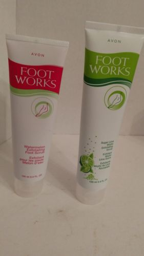 2 Avon Foot Works Exfoliating Foot Scrubs - Watermelon & Sugar Lime Mojito