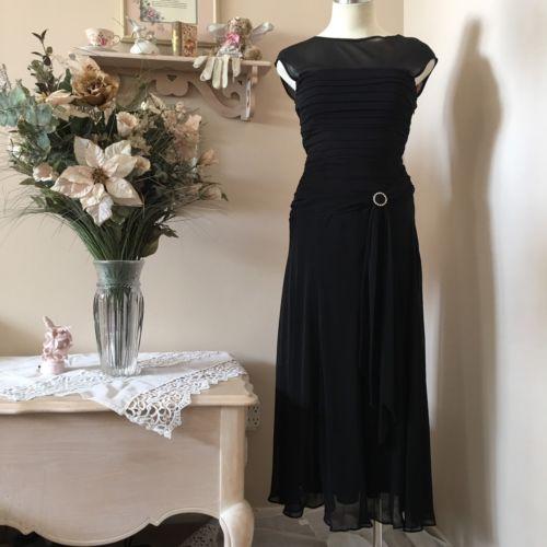 SANGRIA  BLACK EVENING COCKTAIL Dress GOWN CHIFFON & Stretch Knit SZ 6 NWT