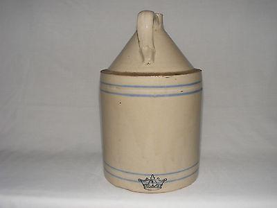 VINTAGE Antique Stoneware Pottery WHISKEY MOONSHINE JUG CROWN crock BLUE RINGS