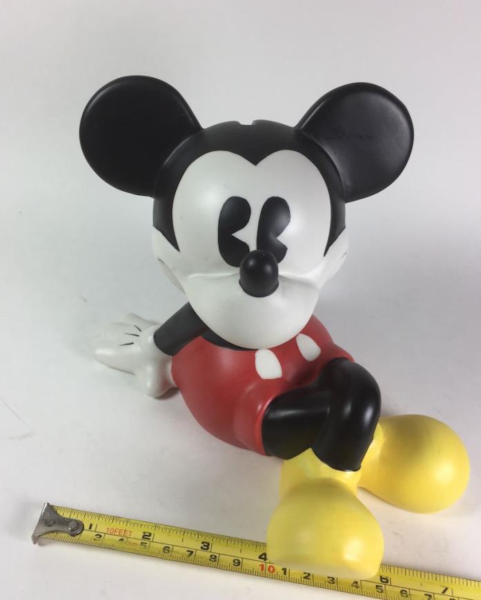 Disney Classic Mickey Mouse Enesco Ceramic Piggy Bank Kicking Back