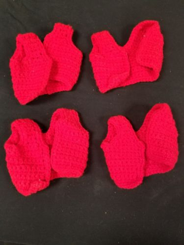 4pc Vintage Handmade Crochet / Tatting Doll Jacket or Vest in Bright Red