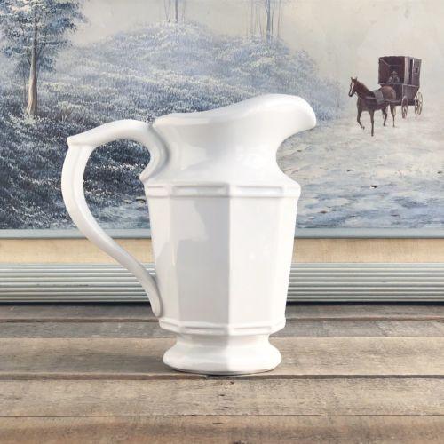 Vintage Ceramic White Pottery Pitcher Farmhouse Ironstone