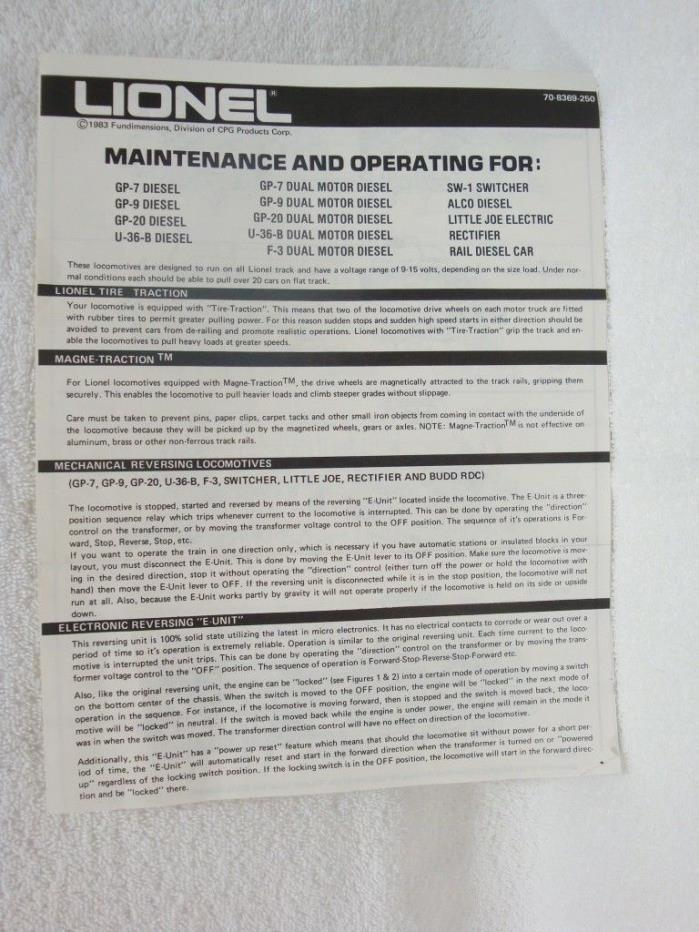 Lionel Maintenance & Operating For many Different Train Set Instructions