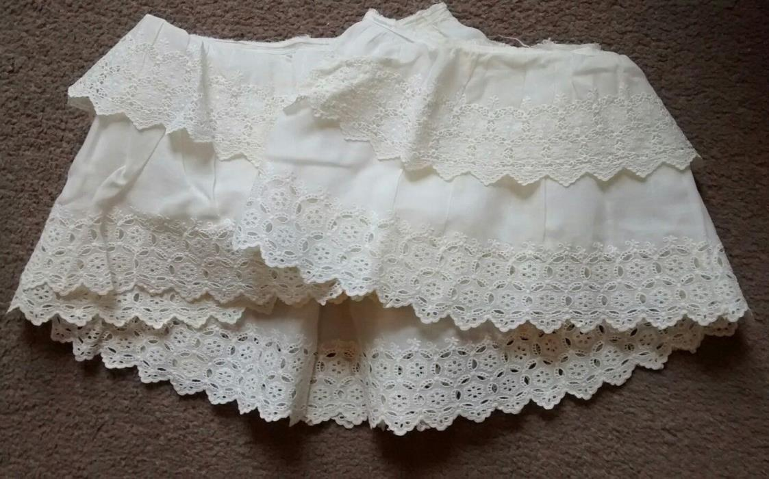 Antique White Embroidered Eyelet Cotton Flounce Salvage Lace Trim Two Layer
