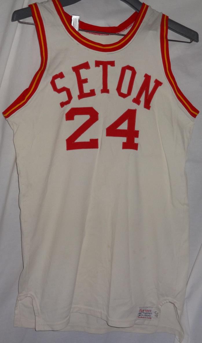 Vintage SETON Game Used Worn Basketball Jersey #24