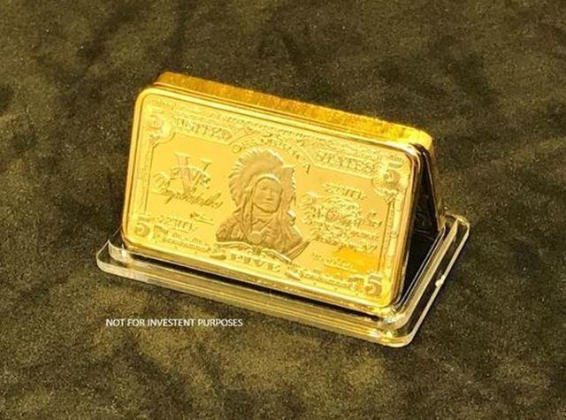 1 OZ 999 Gold Clad Indian Chief Collectors Bar #L