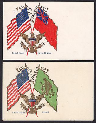 2-Patriotic-Flags-United States-Great Britain-British-Ireland-Irish-Postcard Lot
