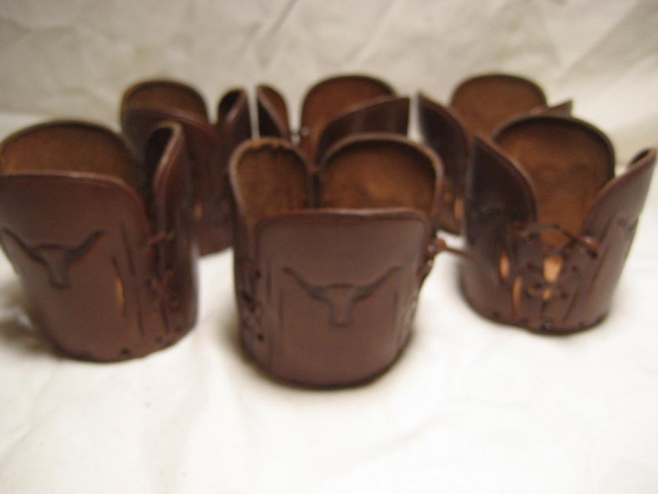 Lot of 6 Bovine Leather Cup covers Western longhorn steer theme