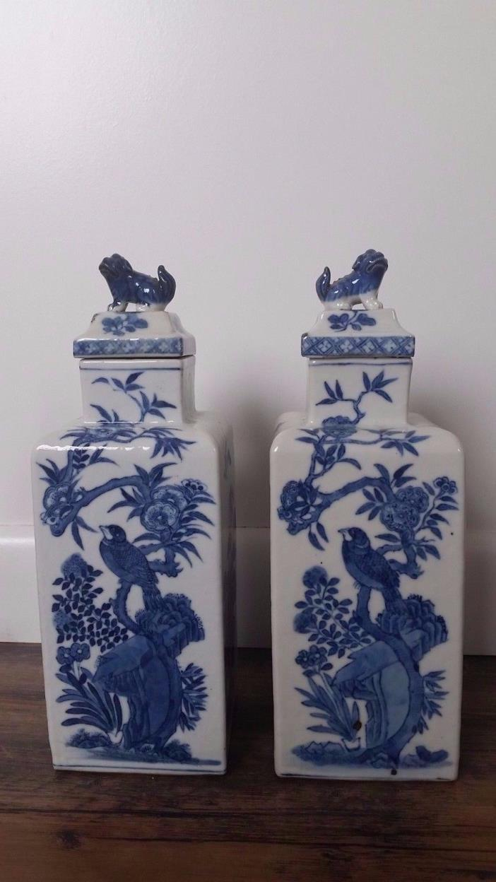 ANTIQUE CHINESE BLUE AND WHITE PORCELAIN LIDDED CONTAINERS KANGXI MARK 1662-1722