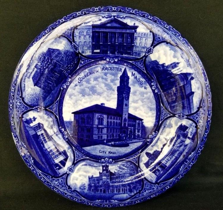BEAUTIFUL ROWLAND MARSELLUS STAFFORDSHIRE PLATE FLOW BLUE WHITE WORCESTER MASS