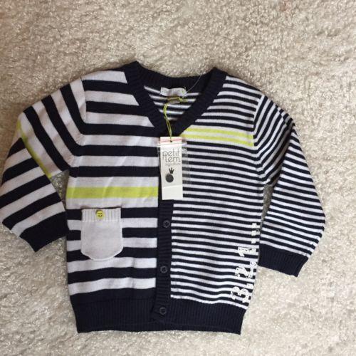 Petit Lem Signature Baby Boys 9 12 Month Striped Knit Cardigan Sweater Cotton