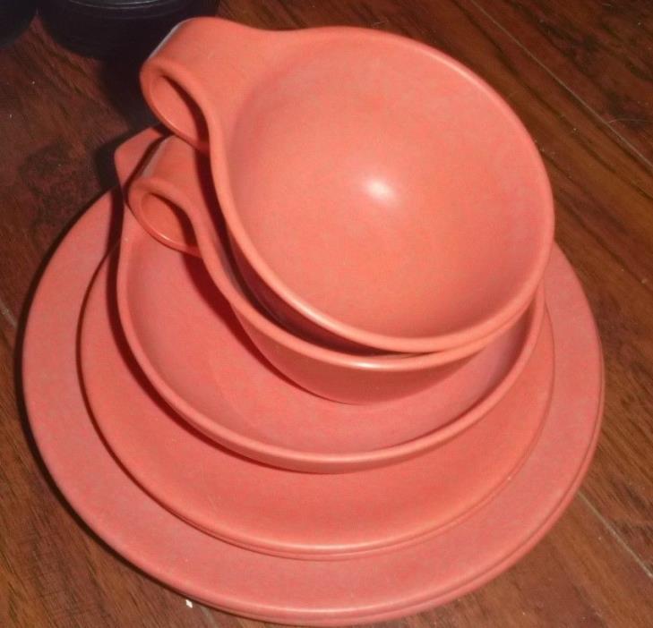 Vtg Orange Melmac  2 cups, 2 saucers, 2 plates, bowl, durable, pretty!