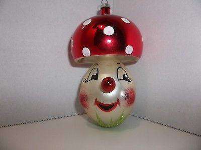 Vintage AUTHENTIC Italian Art Glass MUSHROOM Christmas Ornament Hand Painted
