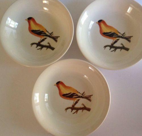 3 Vintage Royal Stafford Oriole Orange Bird Soup Bowls
