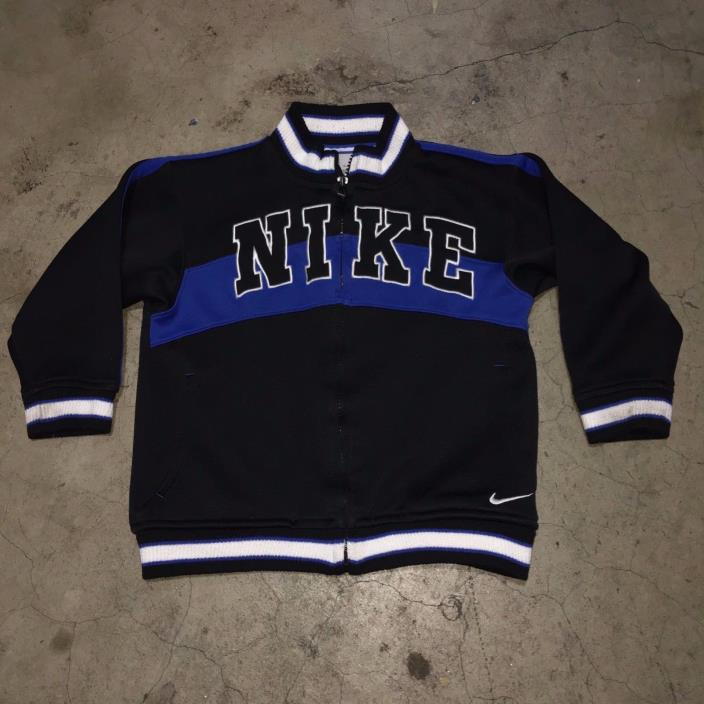 Vintage 90s NIKE Track Jacket- Big Swoosh Black Blue - Size Toddler 4 ( 4T )