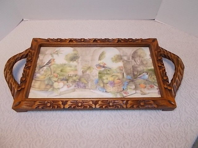 Vintage Carved Wood Tray With Song Birds & Fruit Picture Glass Top