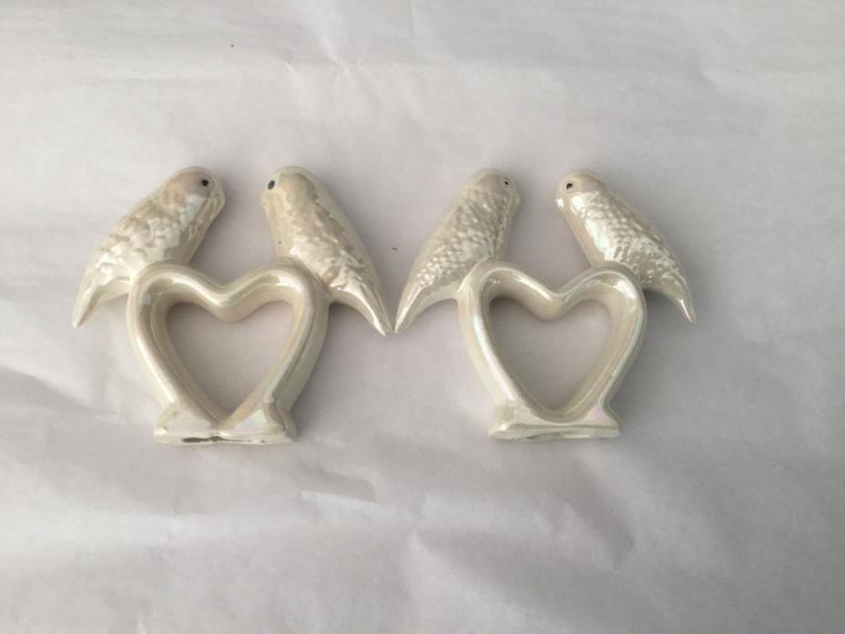 Vintage Pair of luster porcelain love bird parakeet napkin rings