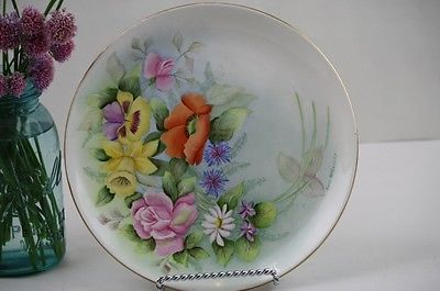 Antique Hand Painted Plate Roses Poppies Lilies Asters Signed Yellow Pink Orange
