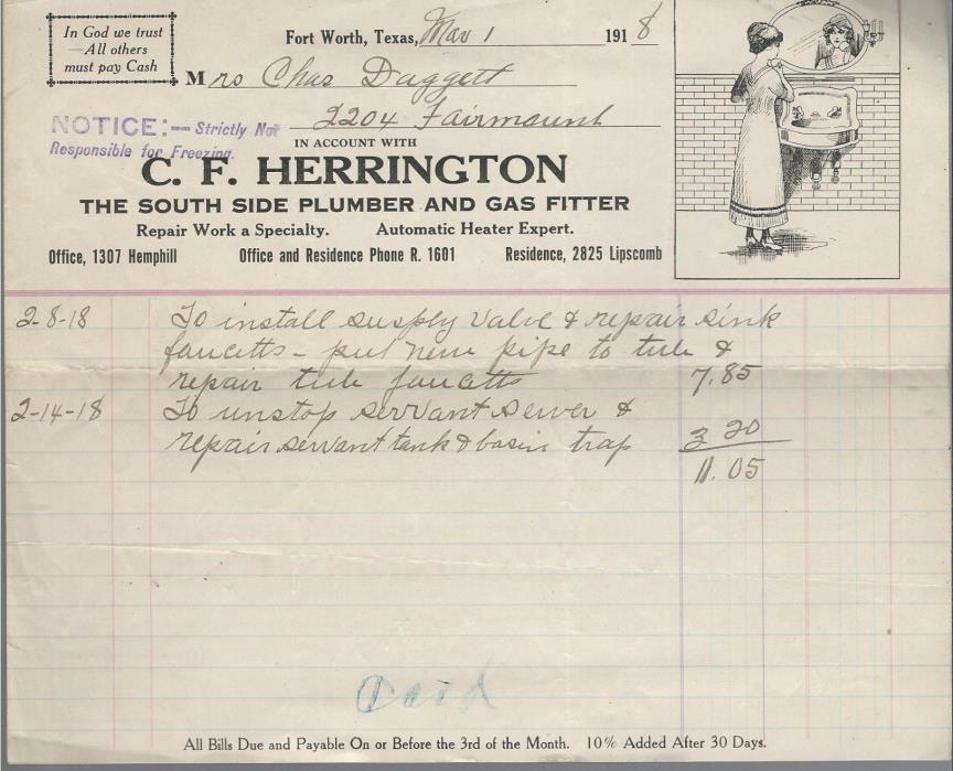 FORT WORTH, TEXAS 1918 INVOICE C. F. HERRINGTON PLUMBER & GAS FITTER