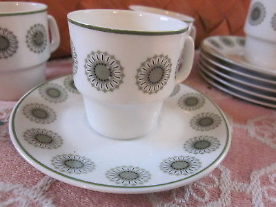 6 pc matching set mini green floral tea cup sauers PORTUGAL