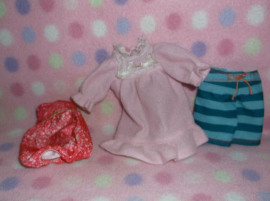 DOLL CLOTHES ACCESSORY #3 PIECE NIGHTGOWN SHORTS ACCESSORY SET GIRLS