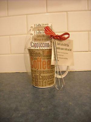 COFFEE TEA CAFE AU LAIT CAPPUCCINO PORCELAIN MUG SET NIP TINY WHISK TAG 2013